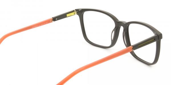 Sporty Nerd Rectangular Grey Orange Frame Glasses - 5
