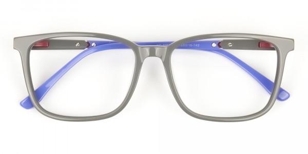 Sporty Casual Rectangular Blue & Grey Frame Glasses - 6