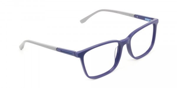 Sporty Casual Rectangular Grey & Royal Blue Spectacle Frames - 2
