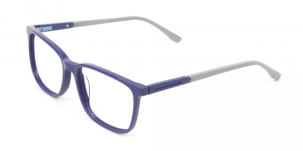Sporty Casual Rectangular Grey & Royal Blue Spectacle Frames - 3