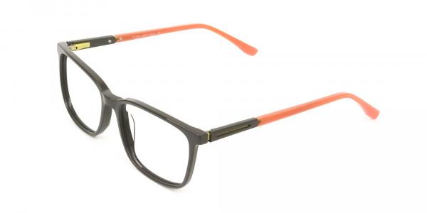 Sporty Nerd Rectangular Grey Orange Frame Glasses - 3