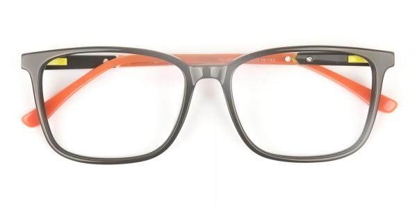 Sporty Nerd Rectangular Grey Orange Frame Glasses - 6
