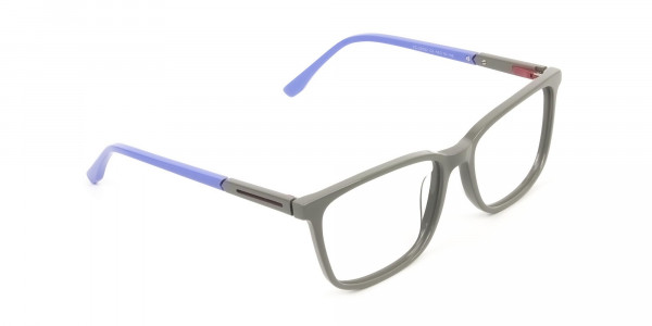 Sporty Casual Rectangular Blue & Grey Frame Glasses - 2