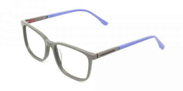 Sporty Casual Rectangular Blue & Grey Frame Glasses - 3