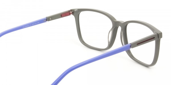 Sporty Casual Rectangular Blue & Grey Frame Glasses - 5