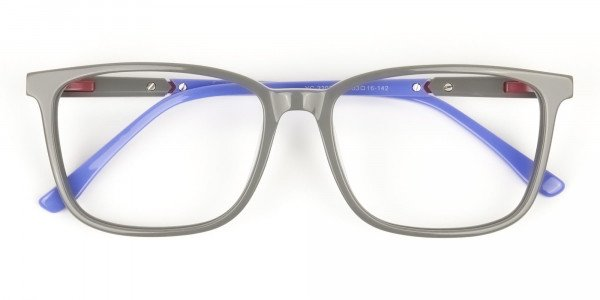 Sporty Casual Rectangular Blue & Grey Frame Glasses - 6