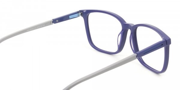 Sporty Casual Rectangular Grey & Royal Blue Spectacle Frames - 5