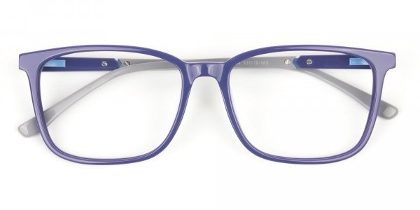 Sporty Casual Rectangular Grey & Royal Blue Spectacle Frames - 6