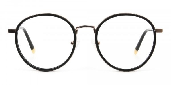 Black and Rose Gold Eyeglasses in Round - 1