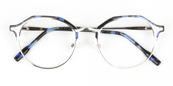 Blue Marble & Silver Weightless Glasses  in Mixed material  - 6