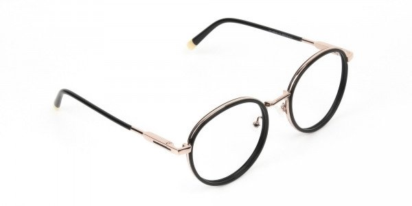 Black and Rose Gold Eyeglasses in Round -2