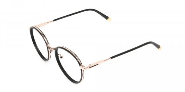 Black and Rose Gold Eyeglasses in Round -3