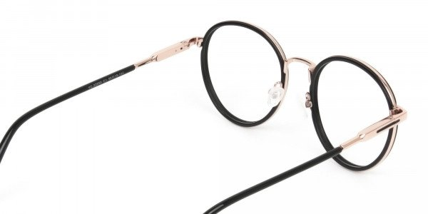 Black and Rose Gold Eyeglasses in Round -5