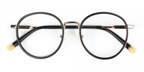 Black and Rose Gold Eyeglasses in Round -7