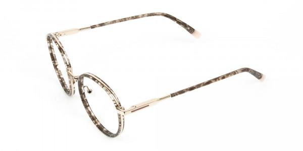 High Nose Bridge Glasses in Tortoiseshell Round Frame -3