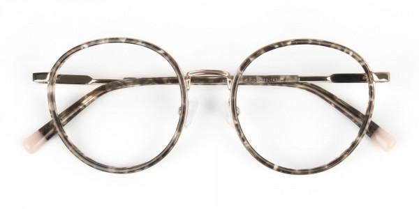 High Nose Bridge Glasses in Tortoiseshell Round Frame  -7