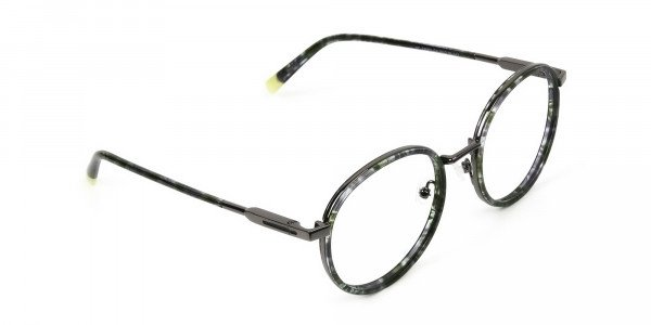 Hunter Green Tortoise Gumetal Glasses in Round - 2
