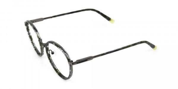 Hunter Green Tortoise Gumetal Glasses in Round - 3