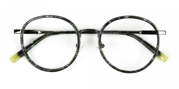 Hunter Green Tortoise Gumetal Glasses in Round - 7