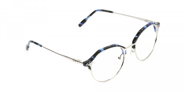 Blue Marble & Silver Weightless Glasses  in Mixed material  - 2