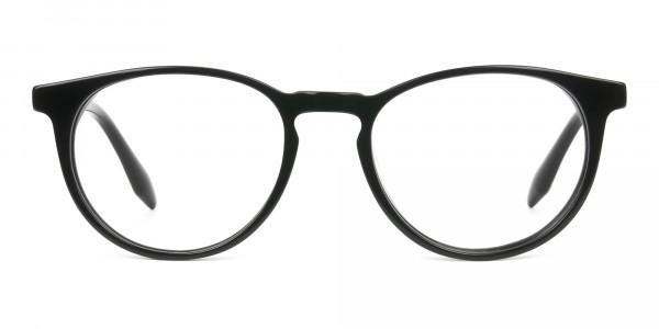 Keyhole Black Retro Round Glasses in Acetate - 1