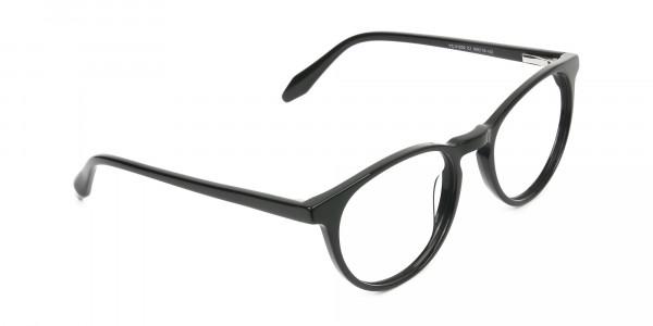 Keyhole Black Retro Round Glasses in Acetate - 2