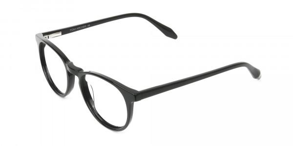 Keyhole Black Retro Round Glasses in Acetate - 3