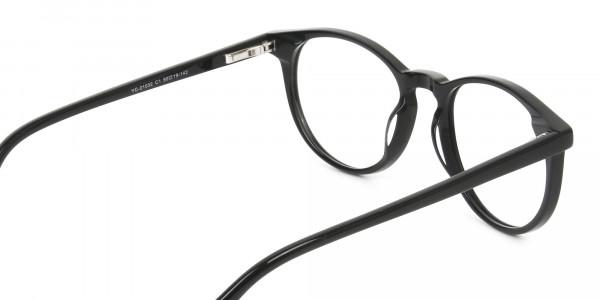 Keyhole Black Retro Round Glasses in Acetate - 5