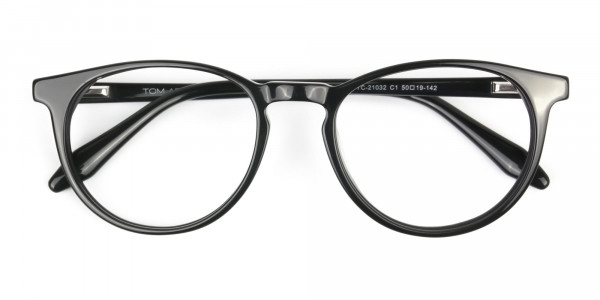 Keyhole Black Retro Round Glasses in Acetate - 6