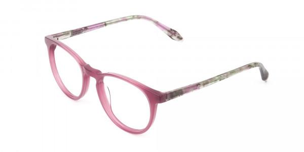 Keyhole Green Marble & Rose Red Frame Eyeglasses - 3