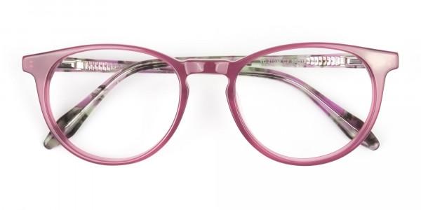 Keyhole Green Marble & Rose Red Frame Eyeglasses - 6