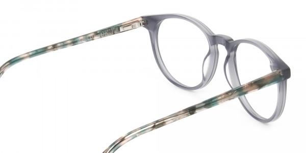Keyhole Grey Frame Eyeglasses with Brown, Blue Tortoise Temple - 5