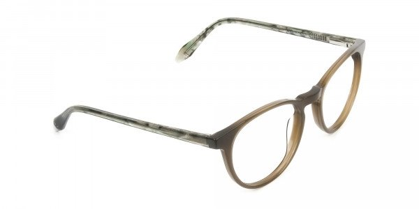 Keyhole Mocha Brown & Marble Hunter Green Glasses in Round - 2