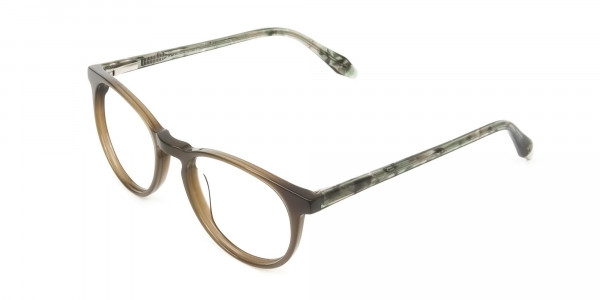 Keyhole Mocha Brown & Marble Hunter Green Glasses in Round - 3