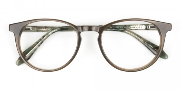 Keyhole Mocha Brown & Marble Hunter Green Glasses in Round - 6