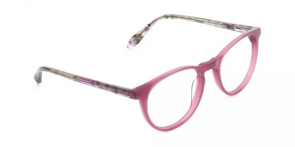 Keyhole Green Marble & Rose Red Frame Eyeglasses - 2