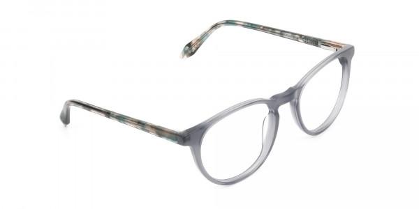 Keyhole Grey Frame Eyeglasses with Brown, Blue Tortoise Temple - 2