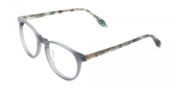 Keyhole Grey Frame Eyeglasses with Brown, Blue Tortoise Temple - 3