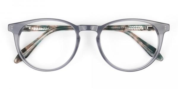 Keyhole Grey Frame Eyeglasses with Brown, Blue Tortoise Temple - 6