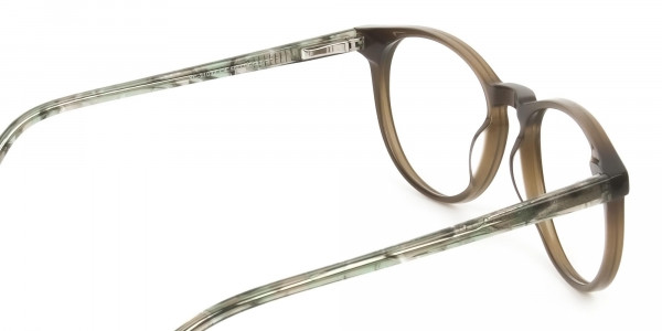 Keyhole Mocha Brown & Marble Hunter Green Glasses in Round - 5