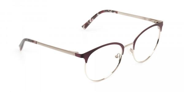 Gold Burgundy Red Clubmaster Glasses Men Women- 2