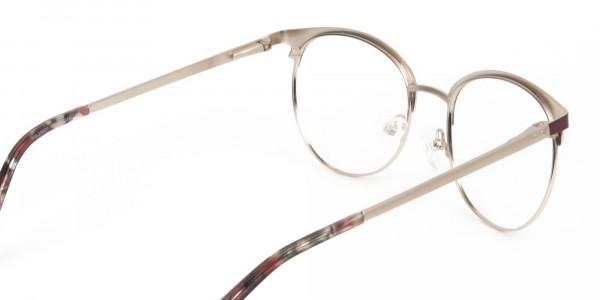 Gold Burgundy Red Clubmaster Glasses Men Women - 5