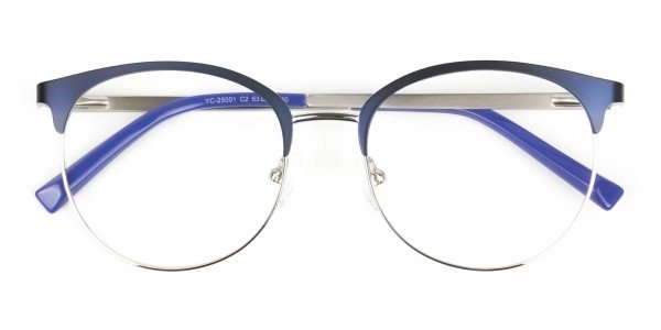 Round Navy Blue Silver Clubmaster Glasses - 6