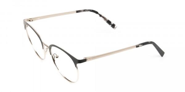 Gold Black Clubmaster Glasses in Round Men Women - 3
