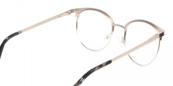 Gold Black Clubmaster Glasses in Round Men Women- 5