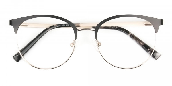 Gold Black Clubmaster Glasses in Round - 6