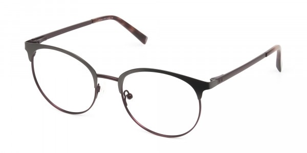 Brown & Gunmetal Clubmaster Glasses in Round - 3