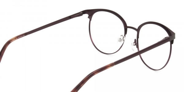 Brown & Gunmetal Clubmaster Glasses in Round - 5