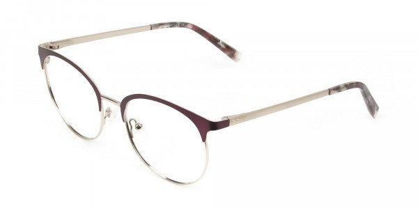 Gold Burgundy Red Clubmaster Glasses Men Women- 3