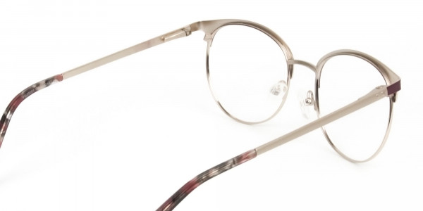Gold Burgundy Red Clubmaster Glasses Men Women - 5